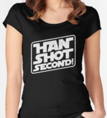 Han Shot Second Star Wars Parody Women's Fitted Scoop T-Shirt