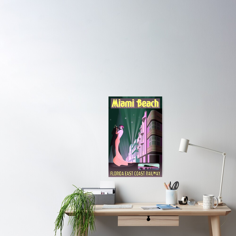 MIAMI BEACH: Vintage Art Deco Buildings Print Poster