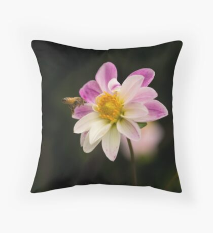 Making a Beeline for the Dahlia Throw Pillow