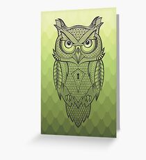 Owl Custom - Green Greeting Card