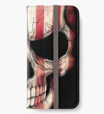 Amerikanische Flagge-Schädel iPhone Flip-Case/Hülle/Klebefolie