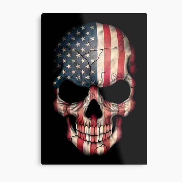 American Flag Skull Metal Print