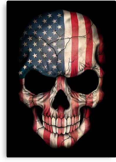 american flag skull canvas prints by jeff bartels redbubble