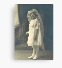 FRENCH FLOWER GIRL IN WHITE DRESS Canvas Print