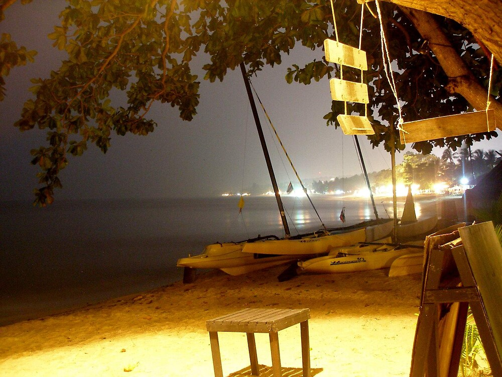 Samui beach at night by K.D. Hemi