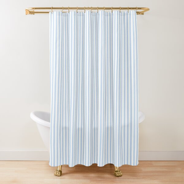 Mattress Ticking Narrow Striped Pattern in Pale Blue and White Shower Curtain