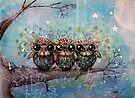 three little night owls by © Karin Taylor