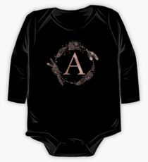Letter A Rose Gold Pink Initial Monogram One Piece - Long Sleeve