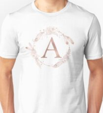 Letter A Rose Gold Pink Initial Monogram Unisex T-Shirt