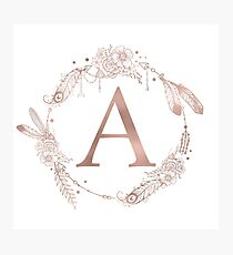 Letter A Rose Gold Pink Initial Monogram Photographic Print