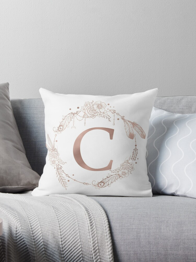 Letter C Rose Gold Pink Initial Monogram by naturemagick