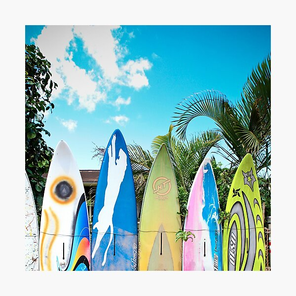 Retro Color Surfboard Fence of Paia Photographic Print