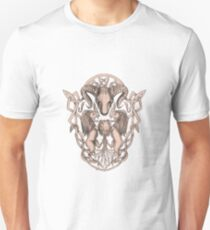 Bighorn Sheep Lion Tree Coat of Arms Celtic Knotwork Tattoo Unisex T-Shirt