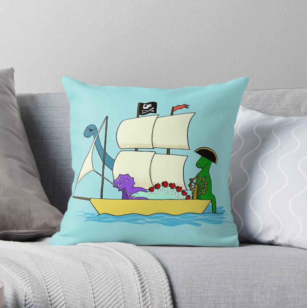 Dinosaur pirates sail the seven seas Throw Pillow