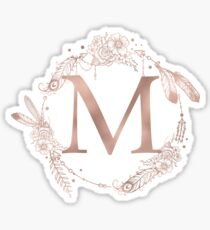 Letter M Rose Gold Pink Initial Monogram Sticker
