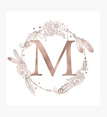 Letter M Rose Gold Pink Initial Monogram Photographic Print
