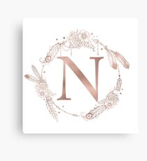 Letter N Rose Gold Pink Initial Monogram Canvas Print