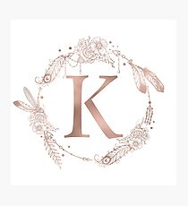 Letter K Rose Gold Pink Initial Monogram Photographic Print