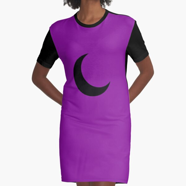 Black Crescent Moon  Graphic T-Shirt Dress