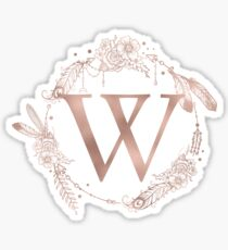 Letter W Rose Gold Pink Initial Monogram Sticker