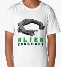 Alien Covenant Ship 8 bit Pixels Long T-Shirt