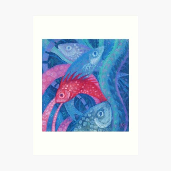 Spawning, Blue Pink Fish, Underwater Water Animals Pastel Art Print
