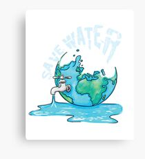 Save Water Earth Protect Eco Environmental Design Canvas Print