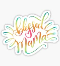 Blessed Mama Heart Hand Lettered Design Sticker