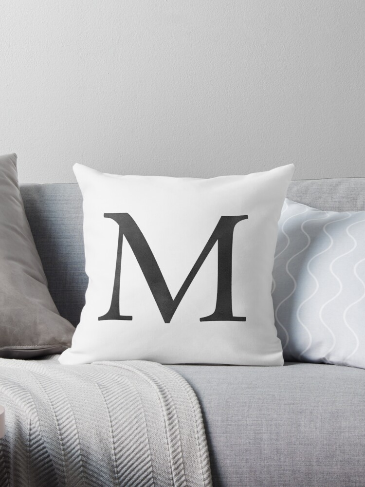 Letter M Initial Monogram Black and White by naturemagick