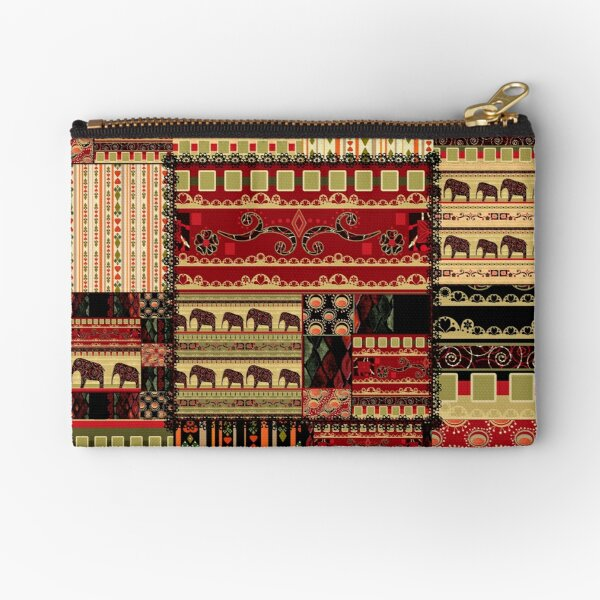 African print with elephants Zipper Pouch