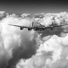 Avro Lancaster above clouds B&W version by Gary Eason