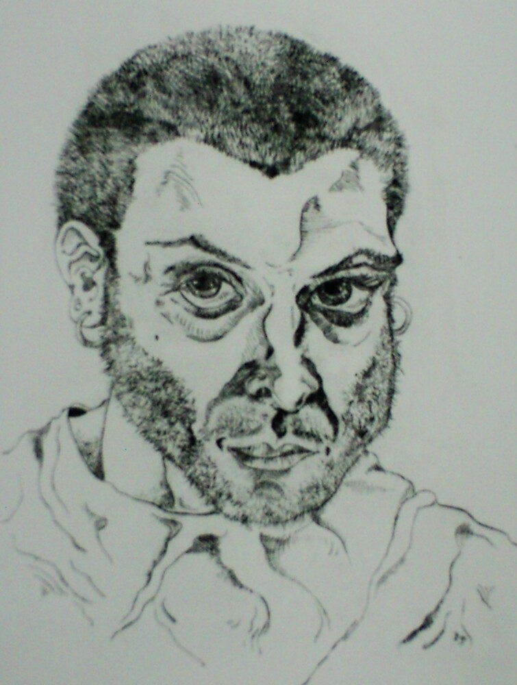 Self-portrait (Engraving)- by Robert Dye