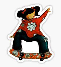 Skater Girl TShirt by Karin Taylor Sticker