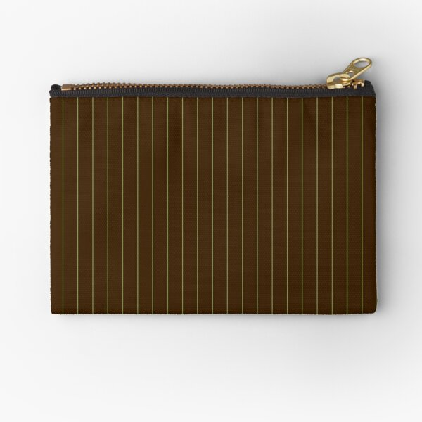 Chocolate and Lime Pinstripes Zipper Pouch