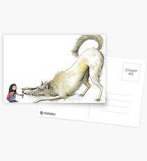 Postales Wolf & Mädchen - Spielaufforderung - Jugar Bow
