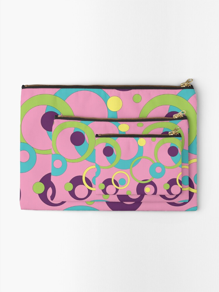 Alternate view of Funky Pink Circles Zipper Pouch