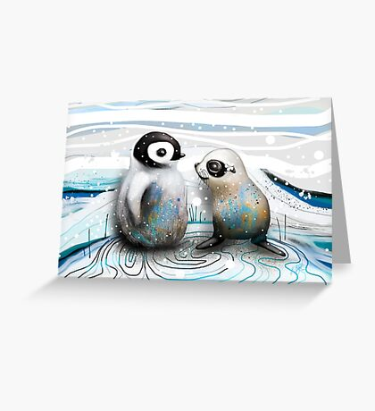 Penguin Chick and Baby Seal Greeting Card