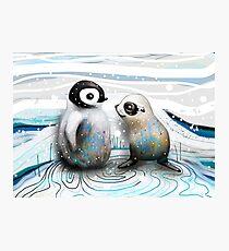 Pinguin-Küken und Baby-Dichtung Fotodruck