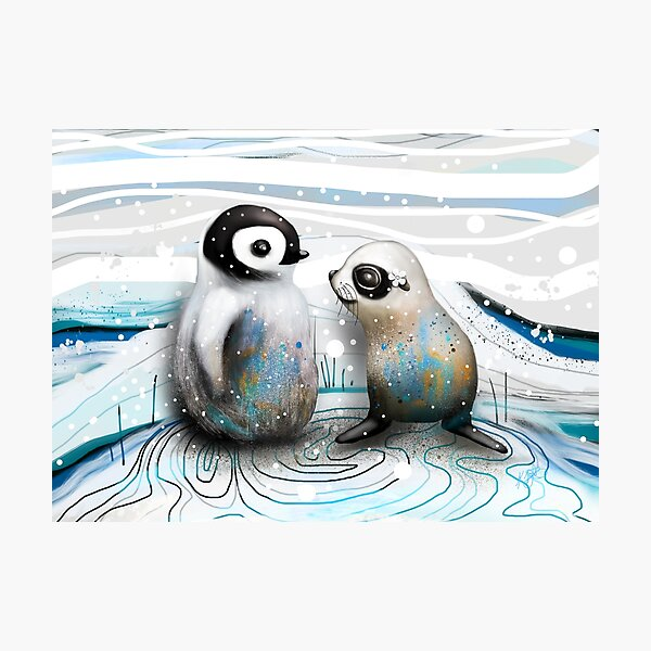 Penguin Chick and Baby Seal Photographic Print