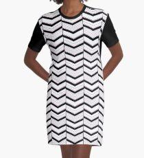 Black White and Blush Chevron Graphic T-Shirt Dress