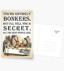 Alice im Wunderland - Tea Party - Sie sind völlig Bonkers - Quote Postkarten