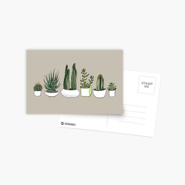 Watercolour Cacti & Succulents - Beige Postcard