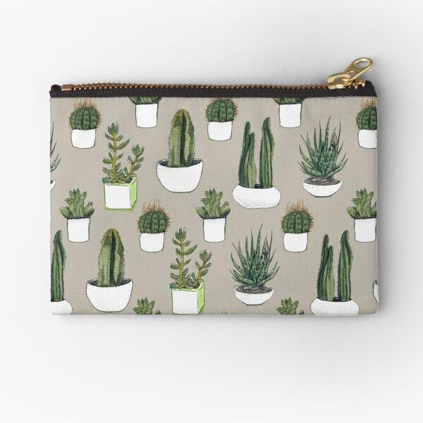 Watercolour Cacti & Succulents - Beige Zipper Pouch