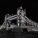 A line art on black image of Tower Bridge, London by Dennis Melling