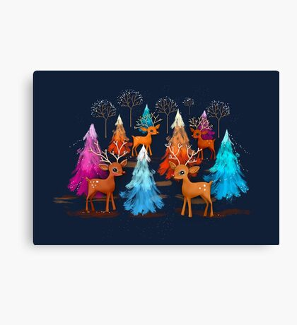 Happy Christmas Trees Canvas Print