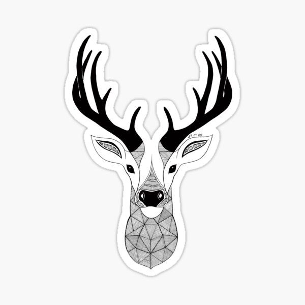 Deer Black and White Sticker