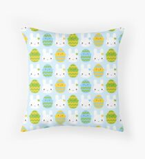 Kawaii Easter Bunny & Eggs Throw Pillow