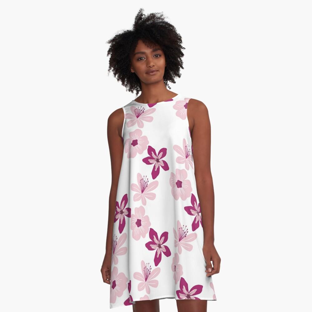 Pink Blossoms A-Line Dress Front