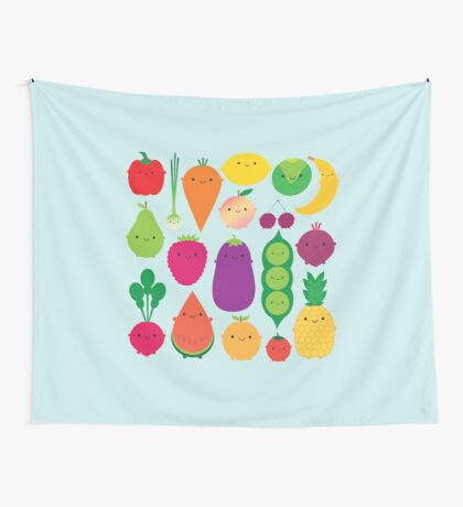 5 A Day Fruit & Vegetables Wall Tapestry