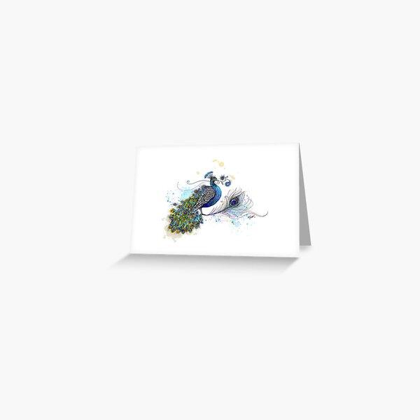 Blue Paisley Peacock Greeting Card